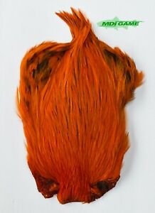 MDI Game Fishing Quality Dyed Orange Indian Cock Cape For Fly Tying (Ref:07)