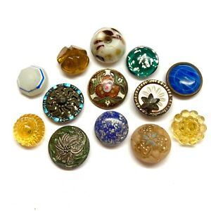 Antique Buttons ~ 19th Glass and Metal inc Paperweights, Swirlback & Enamel