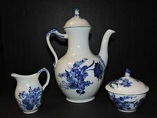 "Royal Copenhagen Denmark ""Blue Flower"" Coffee Pot, Creamer, and Sugar Bowl"