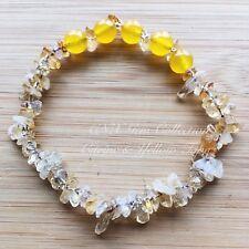 Gemstone Crystal Citrine ChipStone N Yellow Topaz Beads Stretchy Bracelet Nov