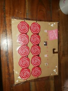 NEW Red Rose Flowers Photo Clip Garland Home Decor 72 inches