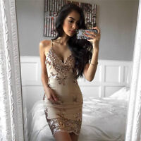 Sexy Womens Mini Dress  Backless Bodycon Cocktail Party Ladies V-Neck Sequined