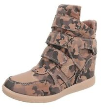 Womens Pale Pink Camo Boots Hidden Wedge Heel Trainers High Top Sneakers Shoes