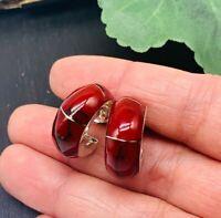 TAXCO Earrings Red jasper 925 Sterling Silver Hoops Mexican Jewelry
