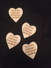 Personalised Wooden Heart Wedding Table Scatters Decorations Favours Handmade 50
