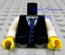 NEW Lego Male/Boy MINIFIG TORSO -White Shirt w/Suit Vest & Blue Stripe Tie Print