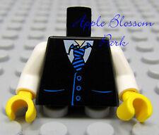 NEW Lego Male/Boy MINIFIG TORSO -White Shirt w/Suit Vest & Blue Stripe Tie Print