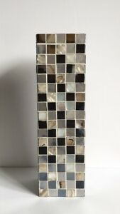 """Tall Hand Crafted Mosaic Mother Of Pearl Shell Art Glass Vase 14"""""""