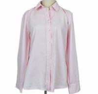 Sportscraft Womens Pink Striped Long Sleeve Button Up Blouse Shirt Size 12