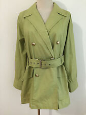 ELLEN TRACY Short Trench Coat Jacket Pale Green Cotton Size 2