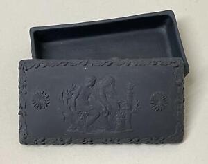 19th Century Wedgwood Black Basalt Match Box with Striker Lid - Excellent Design