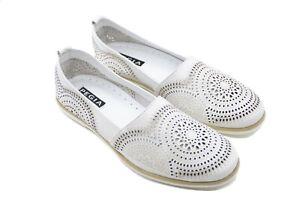 Pegia Mosaic Design Soft White Leather Comfort Slip On Shoes