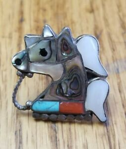 VTG Sterling Silver Native American Horse Ring Turquoise Red Coral MOP Abalone