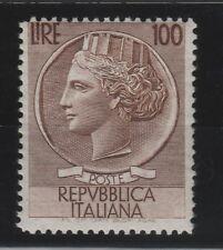 FRANCOBOLLI - 1954 REPUBBLICA L.100 TURRITA FIL. RUOTA MNH Z/9120