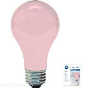 Light Bulb Incandescent A19 Home Decor Party 675-Lumen 60-Watt 2-Pack Pink New