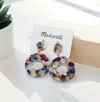 Madewell Circle Statement Earrings - Gold Plated Brass Silver Posts - NWT