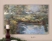 "60"" Large Impressionist Lake Oil Painting | Lake Landscape Wall Art"