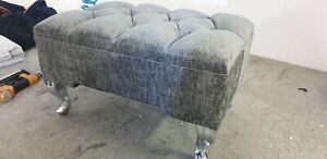 Silver gray chenille FootRest Pouffe foot Stool QueenAnne Legs British Made UK