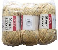 Premier Yarns Mega Tweed Yellow Apricot Tweed Lot of 3 Yarn Skeins 74 Yds. Each