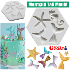 Silicone Cake Mold Mermaid Tail Starfish Fondant Chocolate Baking DIY Soap Mould