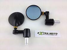 Specchietti ergal CNC tondi da manubrio, alluminio, cafe racer, nero-oro