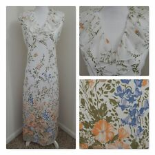 1960-70s Vintage Chiffon Evening GOWN/DRESS Maxi Ruffles Floral Boho M/L