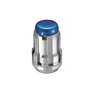 McGard 65354BC 4 Lug Nut Set Chrome With Blue Cap M12 x 1.25 Pitch 1.24 Length