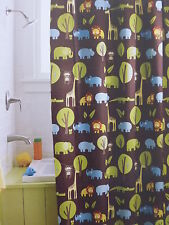 New Circo Fabric Shower Curtain JUNGLE Animals 72x72 Chocolate Green Blue  Orange