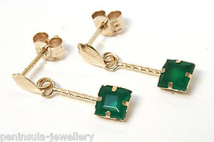 9ct Gold Green Agate Drop Earrings 4mm Square Gift Boxed Made in UK