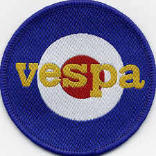 Vespa Target Scooter Mod Woven Badge Patch Circle 71mm Diameter UK Manufactured