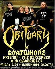 Obituary 2009 Portland Concert Tour Poster - Death Metal Music