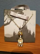 Disney Parks Kingdoms + Castles Dumbo 14k gold plated Dangle Necklace circus