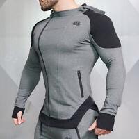 Men's Zipper Hoodie Long-sleeved Sweatshirt Gym Muscles