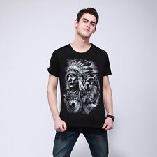 Fashion Brand 3D Indians wolf Print T shirts O neck Short Sleeves Cotton wolf
