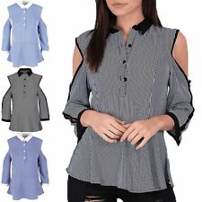 Womens Ladies Contrast Collared Peplum Button Sleeve Cold Cut Shoulder Shirt Top