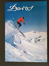 ORIGINAL 1960's DAVOS SKI POSTER  PARSENN SWISS ALPS  VINTAGE EUROPEAN SKIER 60s