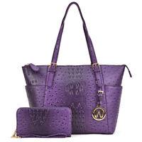 Women Ostrich Embossed Faux Leather Satchel Handbag w/ Matching wallet Purse
