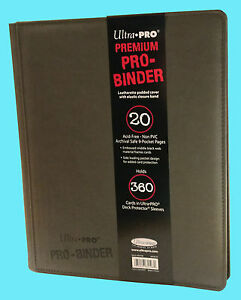 ULTRA PRO 9 POCKET PREMIUM  LEATHERETTE GREY BINDER STORAGE 360 Card 20 Pages