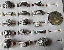 15 SILVER RINGS SOME ANTIQUE OTHERS VINTAGE ENAMEL MARCOSITE MEDUIM TO TINY