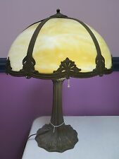 BEAUTIFUL VINTAGE / ANTIQUE SLAG GLASS PANEL LAMP ~ WORKS