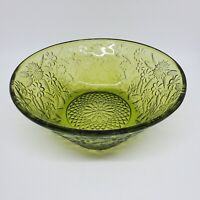 """Vintage Indiana Glass Green Bowl Pineapple Floral Pattern Dish 2.6""""h x 7.5""""w"""