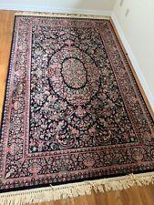 Karastan Kara Shah Floral Design Oriental Rug - Full Pile - Black c. 6' x 9'