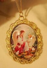 Lacy Scalloped Rim Lovely Angel with Child & Bunnies Cameo Pendant Necklace
