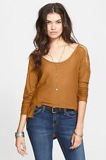 156307 Free People The Gatsby Long Sleeve Patchwork High Low Blouse Tunic Top S