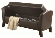 Accent Upholstered Storage Bench Ottoman Dark Brown Leatherette Wood Curved  Legs