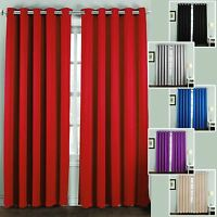Thermal Blackout Curtains Pair Ring Top Eyelet Ready Made Super Soft