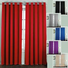 Thick Thermal Blackout Ready Made Eyelet Ring Top Pair Curtains Panel Backs Wall