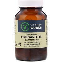 Vitality Works Oregano Oil Carvacrol 70 120 Liquid Veggie Caps Vegetarian
