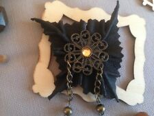 Handmade Genuine Leather Black Brooch LARP Festival Gothic. Made In England.