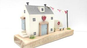wooden heart  cottage. coastal art ornament Driftwood cottage house .